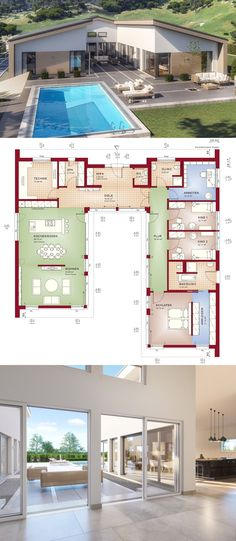 Bungalow house with saddle roof architecture & courtyard, 5 rooms floor plan ground floor in Uform, inside open designed with pool Terrace – Detached house building barrier-free ideas Ideas prefab Bungalow AMBIENCE 209 SD by Bien Zenker – HausbauDirekt. Architecture Courtyard, Architecture Design, New House Plans, House Floor Plans, Prefabricated Houses, Ground Floor Plan, House Blueprints, Sims House, House Roof