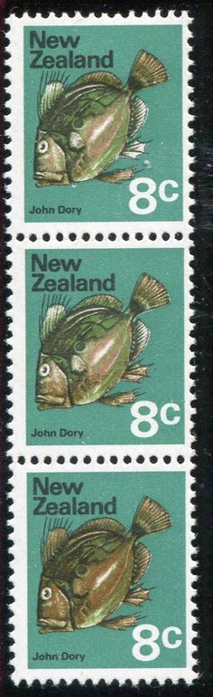 NZ Error 1970 Pictorial 8c John Dory Fish, vertical selv strip 3 with orche colour omitted on 2 stamps, top stamp hinged, ex Parkinson #Stamps #Errors #MADonC
