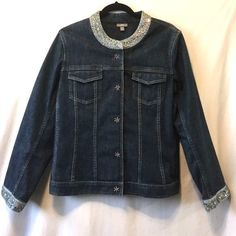 J.Jill Stretch Beaded Seqin Blue Cropped Denim Jean Jacket Size M #JJill #BasicJacket