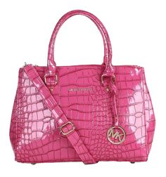 Perfect Michael Kors Sutton Python Pattern Embossed Medium Pink Satchels, Perfect Y
