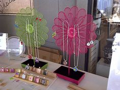 Metal flower jewelry displays by kmsdesigns, via Flickr
