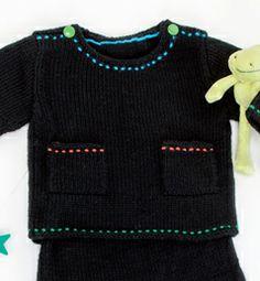 Modèle pull à boutons bébé 25% laine