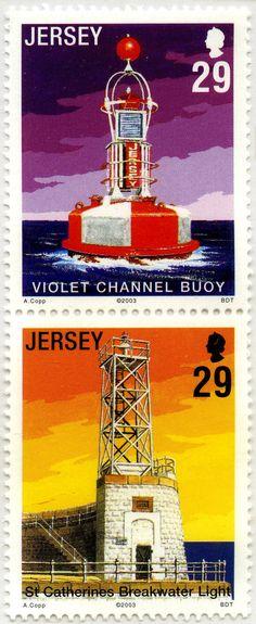 Faros de Jersey (II): Bota del Canal Violeta y Faro del rompeolas de ST Catherines, FST Cath: Jersey. 2003
