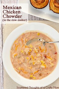 Favorite Slow Cooker recipes: Mexican Chicken Chowder from www.scatteredthou… Favorite Slow Cooker recipes: Mexican Chicken Chowder from www. Crock Pot Soup, Crockpot Dishes, Crock Pot Slow Cooker, Crock Pot Cooking, Slow Cooker Recipes, Crockpot Recipes, Cooking Recipes, Healthy Recipes, Kitchen Recipes