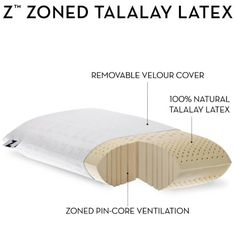 Z by Malouf 100% Natural Talalay Latex Zoned Pillow, QUEEN-LOW LOFT-FIRM