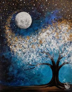 Check out Painting with a Twist's events in St. Petersburg, FL to uncover your next painting party! Read more to find out about upcoming painting events. Simple Acrylic Paintings, Acrylic Painting Canvas, Art Paintings, Afrique Art, Moon Painting, Forest Painting, Diy Canvas Art, Moon Art, Tree Art