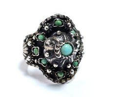 Old Egyptian Silver & Turquoise Ring  by RubyInTheDustVintage, $135.00