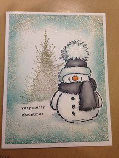 Penny black's Snowy and A Splash of Winter. Stamps Re-created by Laura's Greetings