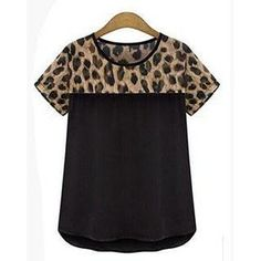 Leopard-Print Panel T-Shirt