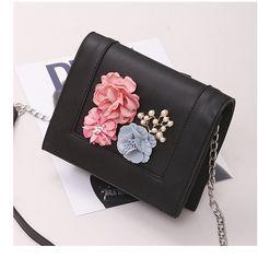 3D Flower Black Shoulder Bags PU Square Crossbody Bags Black Shoulder Bag, Shoulder Bags, Shoulder Training, Cheap Crossbody Bags, Messenger Bag, 3d, Flower, Style, Swag