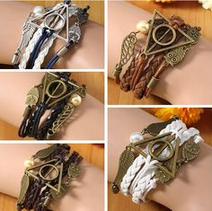 A unisex bracelet featuring a golden snitch, owls (Hedwig), and the Deathly Hollows symbol. Owl Wings, Vintage Owl, Pearl Color, Braided Leather, Clothing Items, Women Jewelry, Pearls, Bracelets, Triangle
