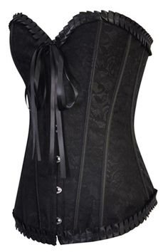 bce48a334a Black Satin Floral Brocade Structured Corset Wih Metal Busl Front Closure  and Satin Ribbons Back Lace Up