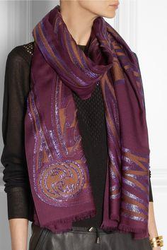GUCCI Metallic cashmere and silk-blend jacquard scarf
