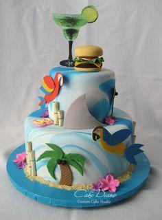 Jimmy Buffett themed Margaritaville cake