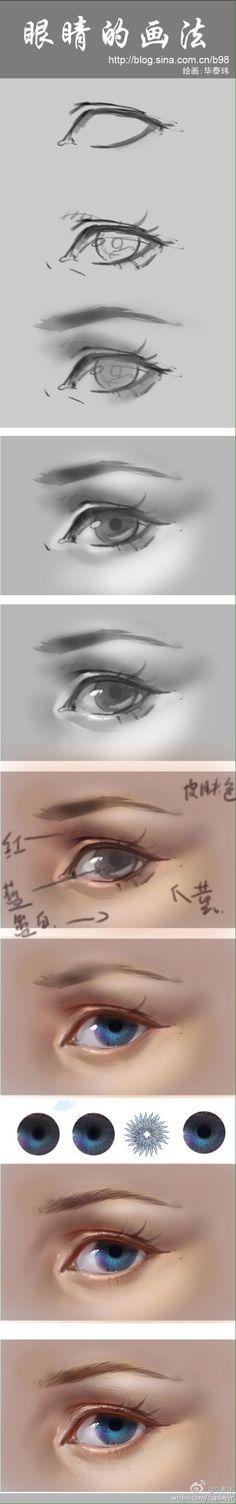 眼睛的画法 | 作者@毕泰玮@三棵菜采集到绘画技能(143图)_花瓣平面设计