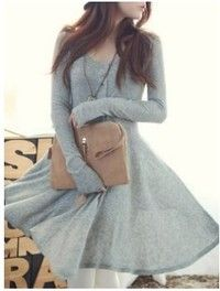 I think you'll like Grey Blends Women Fashion Round Neck Long Sleeve Asymmetrical Knee-Length Dress One Size FZ72261g (Color Gray). Add it to your wishlist!  http://www.wish.com/c/53ea3db172d0b908ca60c3cd