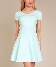 Another great find on #zulily! Blue V-Back Fit & Flare Dress #zulilyfinds
