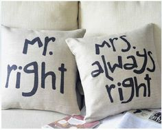 Lovely chic Sweden style Pillow case set: 2 pieces 45cmx45cm wedding gift honey moon Mr Right and Mrs Always Right