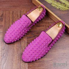 Purple Suede Spike Studs Punk Rock Mens Loafers Flats Dress Shoes Mens Fashion Shoes, Fashion Boots, Shoes Men, Dress Fashion, Spike Shoes, Slip On Dress Shoes, Dress Clothes, Shoe Wardrobe, Simple Shoes