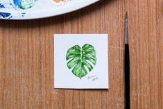 Monstera original watercolour painting, plant leaf aquarelle, small painting Zen Art, Fashion Painting, Small Paintings, Surface Pattern Design, Watercolour Painting, Beautiful World, Designing Women, Really Cool Stuff, Photo Art