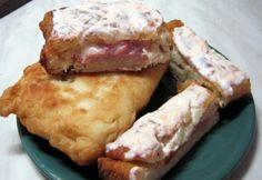 Sajttal sonkával töltött lángos Dairy, Favorite Recipes, Cheese, Chicken, Pizza, Food, Essen, Meals, Yemek