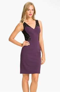 Black Halo Lace Inset Crepe Sheath Dress available at #Nordstrom