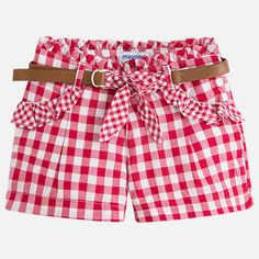 Bermudas vichy con cinturón para niña Short Niña, Girl Dress Patterns, Chor, Girls Pants, Kids Fashion, Womens Fashion, Sewing For Kids, Kids And Parenting, Baby Kids
