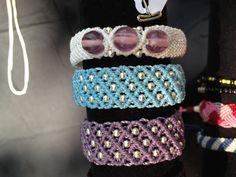 Macrame Bracelet Beaded Diamond Pattern Blue by ARTISANPRODUCTIONS, $32.00