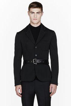 McQ Alexander McQueen Black Twill Leather-belted Technical Field Blazer for men | SSENSE