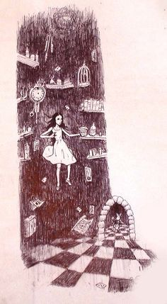 Down the rabbit hole, a doodle I drew on the back of my Business Studies textbook in A-Levels -Sana Nasir