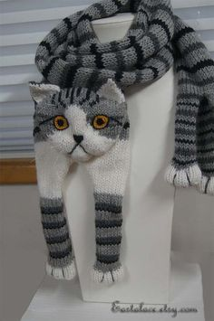 Tabby Gray Cat Scarf Knitting Scarf Gray Scarf Cowl Scarf Long Scarf knit, winter scarf, Christmas Gift, Multicolor Scarf beautiful soft and warm scarf. knitting from pure wool very pleasant for skin Perfect everybody who love cat I can knitt. Cat Scarf, Hand Knit Scarf, Grey Scarf, Long Scarf, Animal Knitting Patterns, Crochet Patterns, Crochet Scarves, Knit Crochet, Yarn Sizes