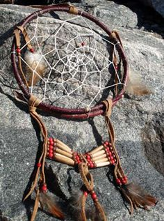 "Like all dreamcatchers, this one will let good dreams pass through the webbing but traps the bad ones. It is crafted by Huron artisans and captures a more traditional look. The hoop is made of twigs and it is decorated with a choker made of bone and coloured wood beads. Trim colours will vary. Let us know if you have a colour preference and we will do our best to accommodate you. 8"" (20 cm) in diameter."