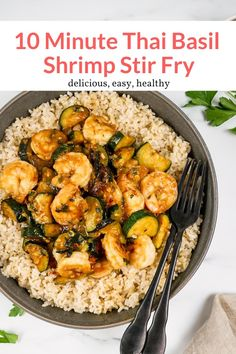 This takeout style Thai Basil Shrimp dish is ready in just 10 minutes and made with ingredients you likely have at home. Easy, healthy, and delicious. This healthy recipe from Slender Kitchen is MyWW SmartPoints compliant and is low carb, paleo and Whole30. #dinner #quickandeasy Good Healthy Recipes, Easy Dinner Recipes, Healthy Meals, Healthy Mummy, Yummy Recipes, Yummy Food, Seafood Recipes, Cooking Recipes, Whole30 Recipes