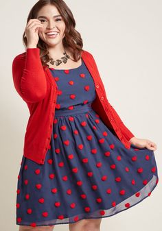 Vintage Inspired Valentines Day Dresses, Skirts, Lingerie A-Line Dress with Pockets and Heart Appliques