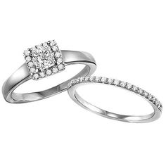 Modern Princess Solitare with Round Stone Halo and Matching Band
