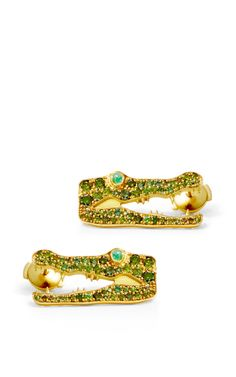18K Yellow Gold And Green Diamond Earrings With Emerald Cabochons by Marc Alary, Fall-Winter 2014 (=)