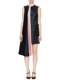 (The dress that doesn't know what it wants to be when it grows up...jg) - Depanda Wool Pleated Overlay Shift Dress by Mary Katrantzou at Gilt