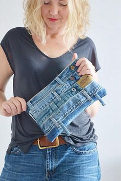 WAIST DENIM pouch bag with cotton lining // recycled denim