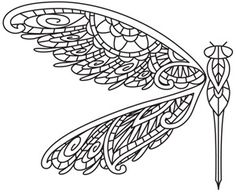 Embroidery Designs at Urban Threads - Mendhika Dragonfly Ideas Quilling, Quilling Patterns, Embroidery Stitches, Embroidery Patterns, Hand Embroidery, Lace Patterns, Colouring Pages, Coloring Books, Dragonfly Images