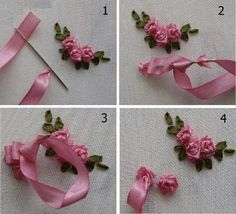 Tina's handicraft : ribbon embroidery techniques. These dainty little ribbon flowers make me smile. These dainty little ribbon flowers make me smile. silk ribbon embroidery Tina's handicraft : ribbon embroidery techniques - In this post, we show you how Embroidery Designs, Ribbon Embroidery Tutorial, Embroidery Flowers Pattern, Hand Embroidery Stitches, Silk Ribbon Embroidery, Embroidery Kits, Flower Patterns, Embroidery Supplies, Machine Embroidery