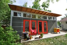 The original Studio Shed. From simple storage to studio spaces with lifestyle interiors, it's the backyard shed. Design and build your own backyard room from Studio Shed today. Prefab Garage Kits, Prefab Garages, Prefab Sheds, Prefab Cabins, Prefab Buildings, Tiny Cabins, Modern Small House Design, Modern Shed, Modern Garage