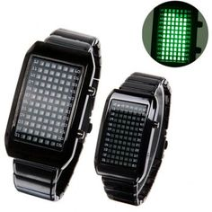 $20.83 Best Sports Couple Watch Set with 72 Green LEDs Rectangle Dial Black Strainless Steel Watchband