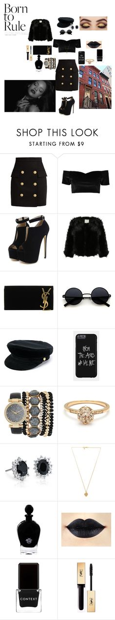 """""""Sinner Hills!!!"""" by kingscott24 ❤ liked on Polyvore featuring Balmain, Boohoo, WithChic, Yves Saint Laurent, Manokhi, Jessica Carlyle, Blue Nile, Vanessa Mooney, EB Florals and Context"""