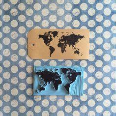 Sello Mapa Mundi carvado a mano en goma. por HuellitaStamps en Etsy