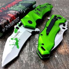 Z-Hunter Zombie Tactical Spring Assited Pocket knife with clip -Green #ZHunter