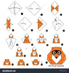 Step By Step Instructions How To Make Origami An Asian Raccoon. Stock vektorkép 402504916 : Shutterstock
