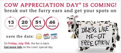 CHICK-FIL-A $$ Cow Appreciation Day: Dress Like a Cow & Get a FREE Meal (7/11 Only)!