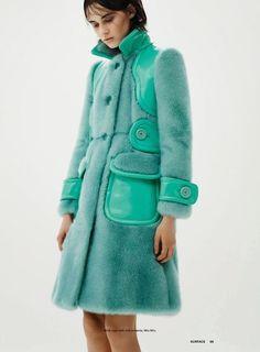 Mink Mint Miu Miu Coat - Inspiration by Color Fur Fashion, Fashion Week, Retro Fashion, Love Fashion, Winter Fashion, Womens Fashion, Fashion Design, Fur Jacket, Fur Coat