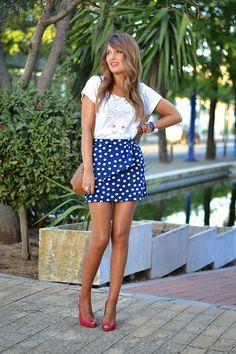 NEOPRENE SKIRT POLKA DOTS 21-8-2014 #kissmylook Falda / Skirt: MenthaShop (New Collection) Top Crop: Miss Espartinas Tacone