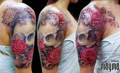 Nice skull and rose sleeve tattoo